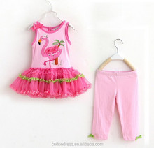 OEM Service Supply Type Toddlers Age Group girl's pink mesh/lace ruffled dress and pant set samples