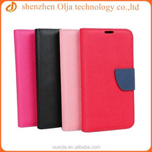 Olja fancy double color leather case for iphone 6, cross pattern wallet case for iphone 6