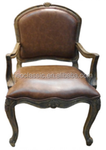 Gold Painted French hand Carved Arms Dining Chair