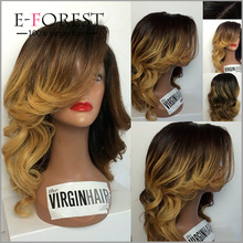 New indian virgin human hair wig natural wave front lace ombre wigs/glueless full lace wigs with bangs for you!
