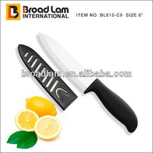 "6"" C-handle Ceramic chef knife with sheath,black handle"