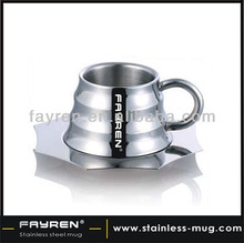 Double wall 304 stainless steel coffee cup and saucer