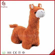 Wholesale plush brown alpaca toy stuffed cartoon doll supple animal shaped throw pillow