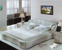 Beds bedroom furiture home furniture Romantic Silver leather bed 0430-A015