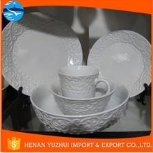 gibson china dinnerware/ white ceramic dinnerware/ dinnerware with embossed design