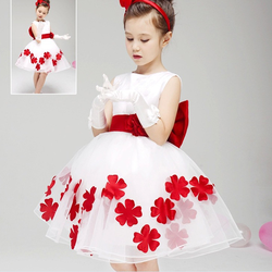 HJL-K1021 Wholesale children's boutique clothing 2015 summer Korean girls fashion wedding dress with belt