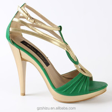 new fashion women dress shoes green strappy sandals high heel
