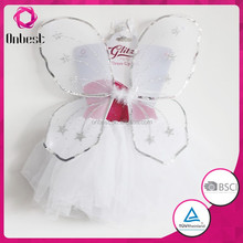 New products 2015 party supplies kids wedding dress up tutu and fairy wings white sequins accessory set