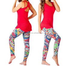 Sublimation pants sexy Fitness Fashion Leggings Women Gym wear Women shirts/tank top gym clothing