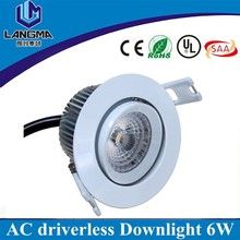AC240V input 3500k 70mm cut hole dimmable round 6w cob downlight led 80mm