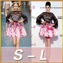 New Designs For 2015 Celebrity Lace Stitching Skater Flower Printed Skirt Long Trumpet Sleeves Dress