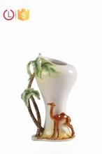 Porcelain enamel flower camel and coconut vase