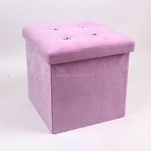 Purple velvet pouf ottoman with diamond button