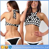 Wholease Summer Push Up Swimwear & Beachwear White With Black Plaid Young Girl Sexy Bikini Bandeau Halter Bikini Girl