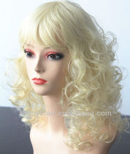 Blonde women 100% Korean fiber Jerry curl Synthetic wig factory
