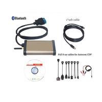 Latest version 2015 R2 CDP Pro +Bluetooth CDP Pro Plus+OKI Chip For Autocom OBD2 Cars/Trucks+ 8 PCS Car Cable diagnostic tool