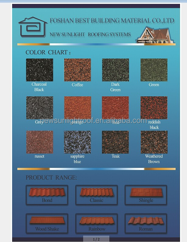 New Sunlight popular colorful stone coated metal roofing tile/metal corrugated tile roofing/decorative building material roofing