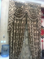 Home decor blackout jacquard luxury window curtain drapery