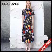Nueva moda larga de hotsale multicolor maxi de seda de colores camisa de vestir más el tamaño de vestidos formales