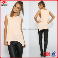 2015 women's wholesale clothing sleeveless soft jersey top/blouse