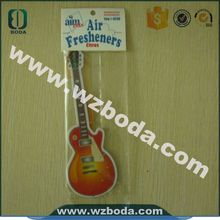 guitar shape funny cotton paper hanging car air freshener with low price