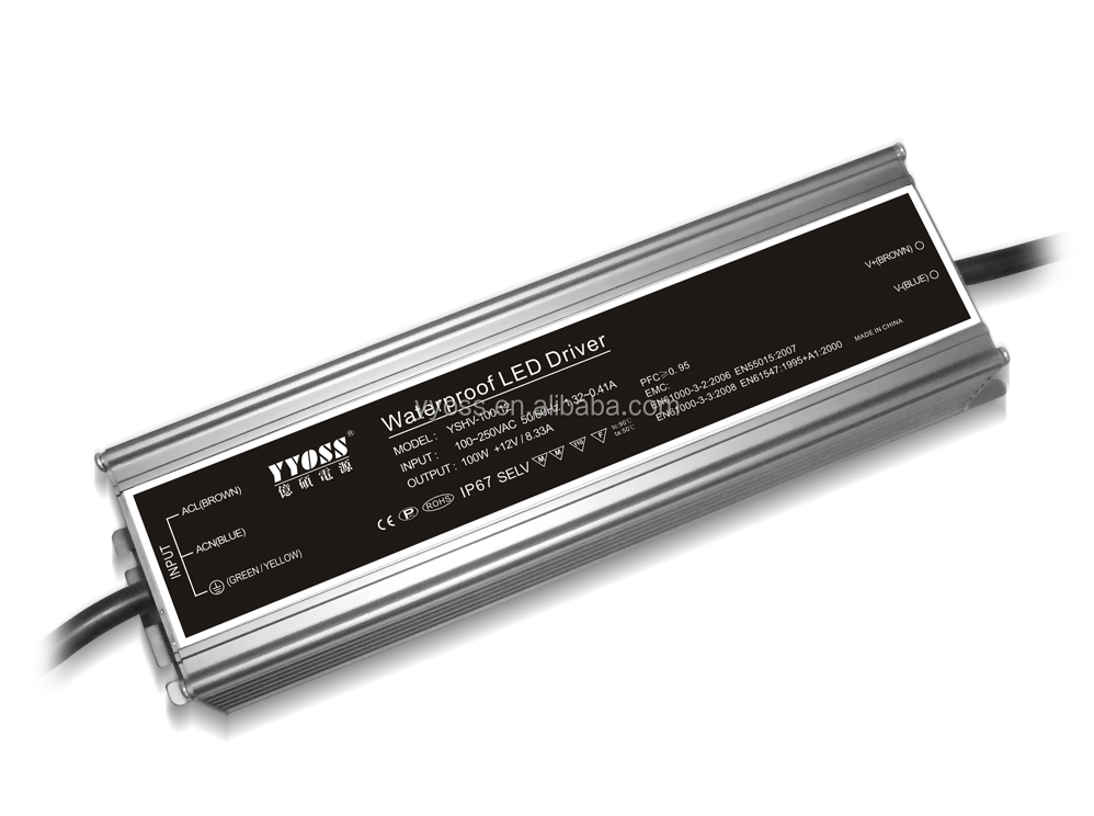 TUV/EMC 100w led driver 24v with high efficiency 91% 5years warranty