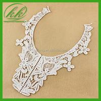 Factory fashion embroidered blouse crochet lace applique cotton fancy neck patch
