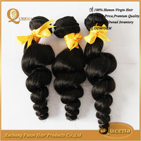 Remy 100% malaysian loose wave virgin hair weaving weft