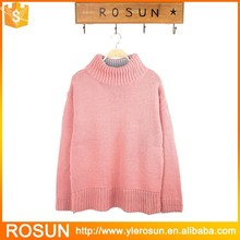 Warm color turtleneck women sweater soft warm pullover with zipper slit
