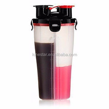 BPA FREE personalized Dual-port protein powder shake bottle,protein shaker bottle powder storage
