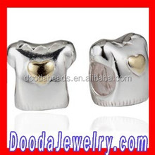 2015 Newest Sterling Silver Gold Plated T Shirt Charm Beads