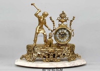 Antique Brass Imitate Iron Moulder Table Clock With Marble Pedestal, Luxury Home Decorative Copper Clock