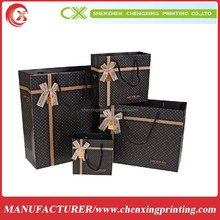 glossy black paper shopping bags packaging for t-shirt