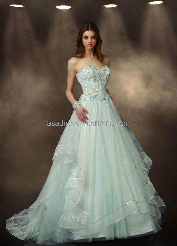 Sweetheart Neck Beaded Tulle Beach Bridal Dress Light Green Wedding ...