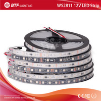 5m 5050 smd rgb led strip ws2811 12V, Black/White PCB 30/48/60 leds/m, every 3leds addressable, waterproof in silicon tube IP67