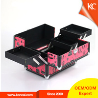 Best Quality Red Makeup Case with mirror/compartments, leather Nail Makup Case,Big Inside Storage Spacious