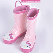 LD-BO8010 Kid's Good Quality Cute Cat Rubber Non-slip Rain Boots With a Handle