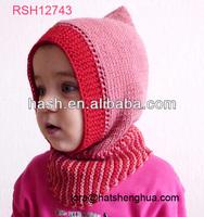 (RSH12743) Baby Hand Knit Hat, Crochet Ski Hood Cap and Shawl