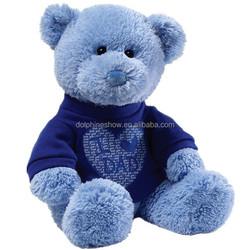 2015 Blue color teddy bear with t-shirt plush stuffed soft cheap teddy bear