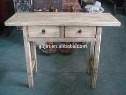 vintage farm house style antique elm wood side console table