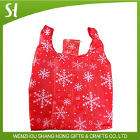 Promotion 190T Polyester Christmas Foldable Tote Bag with Stocking Pouc