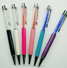New design colorful your logo crystal metal gift pen