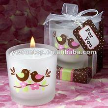 Love Bird Pattern Printing Glass Tealight Candle Holder Favor Of Wedding Decoration