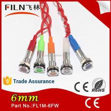 6MM Metal Red White Pilot 6v 12v 24v led pilot lamp china With 20cm Wire