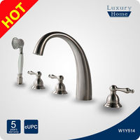 High end brass finish 5 hole bathtub UPC faucet