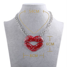 2014 Ladies Sexy enamel Kiss Red Gloss Necklace Jewelry With Lip Pendant Necklace