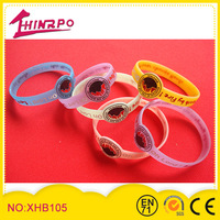 cheap beautiful different color soft blank silicone bangle with logo