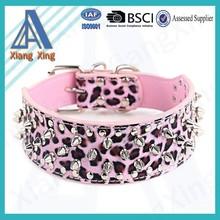 Cheap price PU pink leopard print rivet adjustable dog collar