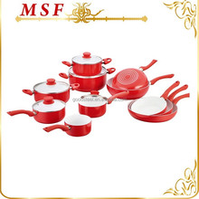 red color pressed aluminum pots and pan sets with white ceramic coating inside and soft touch silicone paint accessories