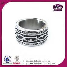 men titanium rings 316l Stainless Steel pattern ring cuff ring